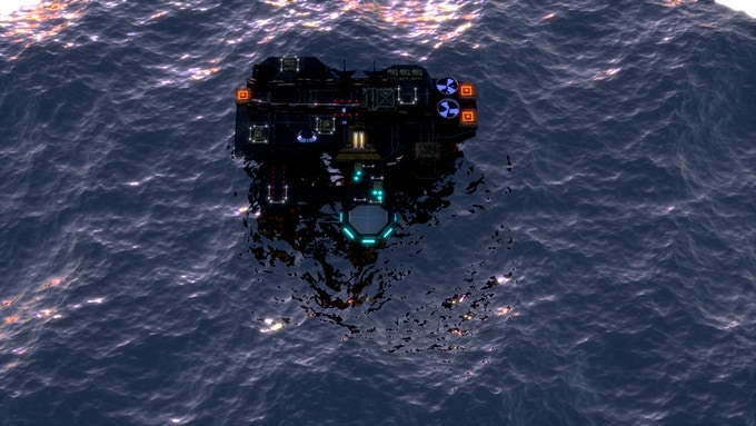 Military colony on the sea of a planet