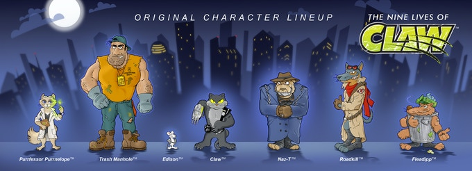 Proposed character lineup for The Nine Lives of Claw™