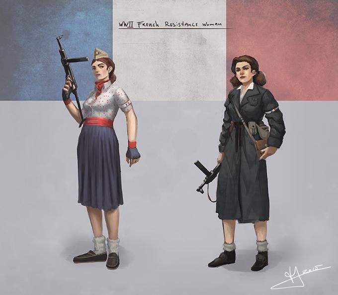 Maquisarde with a British-supplied Sten gun