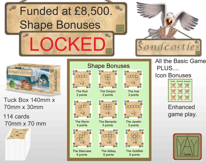 Match your Sandcastles to the Shape Bonuses for more game play....but we want to bring you even more so...