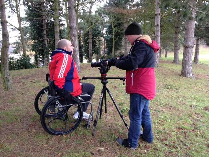 Former GB Sledge Hockey captain Mark Briggs filming with Nico Turner for our video