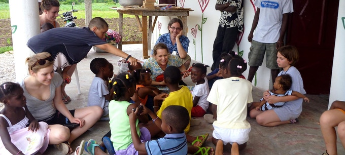 Teaching kids in Haiti at the GFP Orphanage. (Kickstarter video edited by Kirsten Ward, documentary footage by Lisa Udelson.  BIG Thanks!)