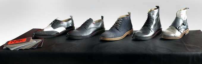 The 5 Styles - Wingtip Derby, Classic Derby, Desert Boot, Dress Boot, Monk Boot. All shoes are made from genuine leather, with leather soles, hand-crafted by Portuguese artisans.