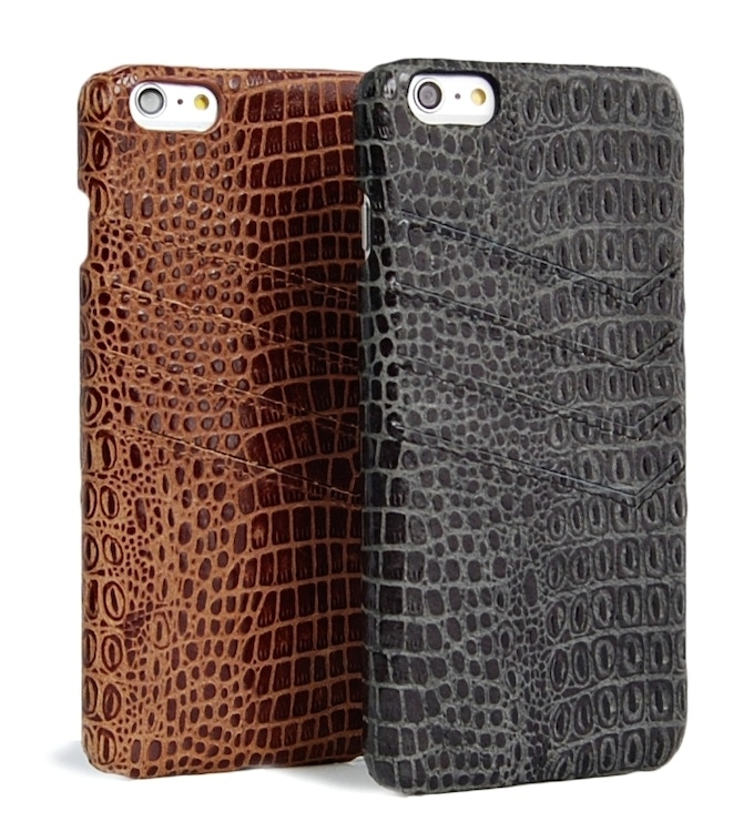 iPhone 6 Plus slim leather wallet case Brown / Black color