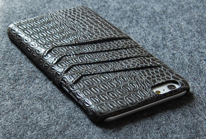 iPhone 6 Plus slim leather wallet case black color