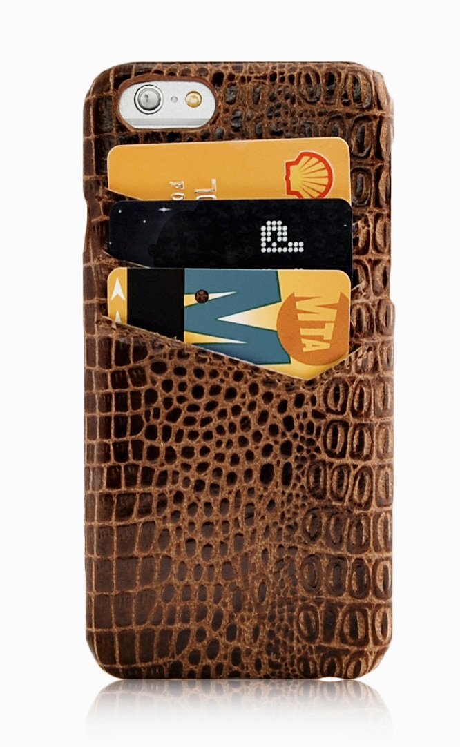 iPhone 6 slim leather wallet case brown with card