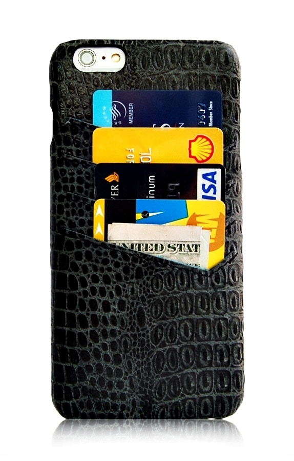 iPhone 6 Plus black slim wallet case