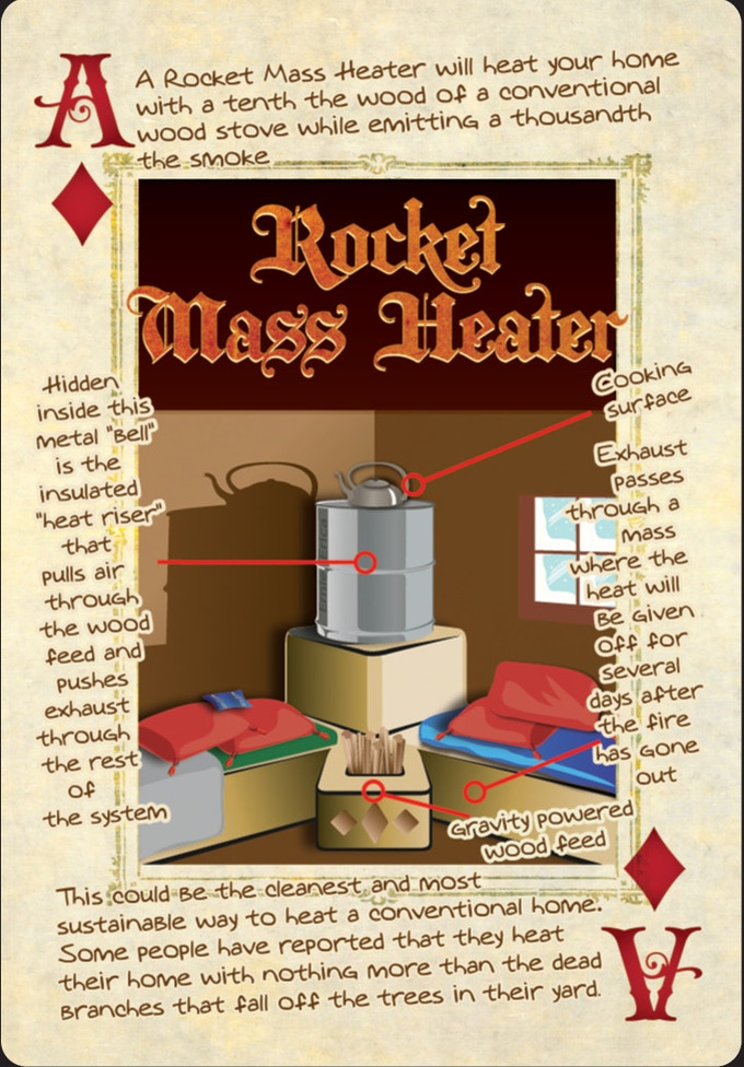 rocket mass heater playing card from the deck of permaculture playing cards
