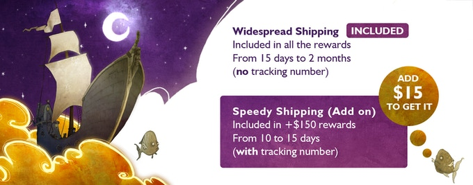 Two shipping options: Widespread and Speedy (Add on 15$)