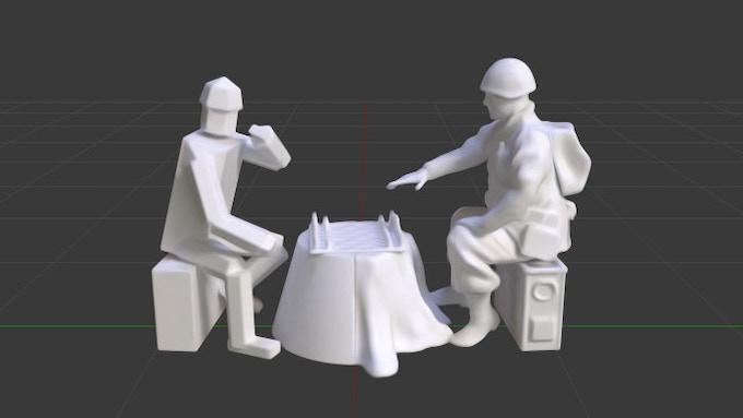 Artistic rendering of 3D printed model