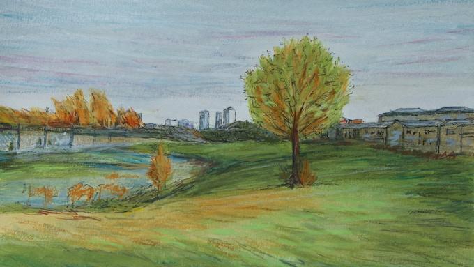 Bobby Baker, Roxy and Rudi Roadshow Cartoon Chapter 3 artwork: Mile End Park landscape watercolour (2014)