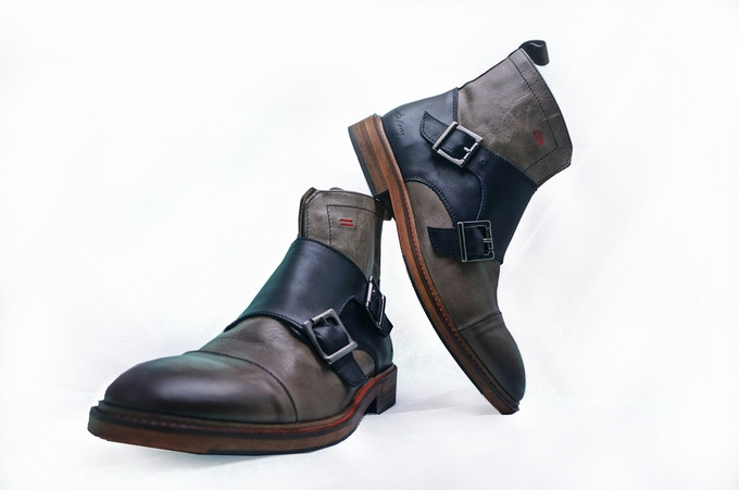 Navy/Grey Monk Boots