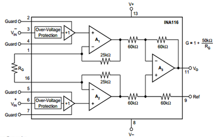 Schematic of ultra-low input bias current integrated circuit that is used in each of the sensors.