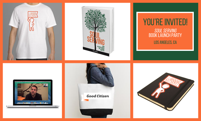 """""""I'm a Good Citizen"""" t-shirt, Limited edition hardcover copy of Soul Serving, Invitation to the Soul Serving Book Launch Party, One-on-on video chat/consultation with me, Good Citizen canvas bag, """"I'm a Good Citizen"""" notebook"""