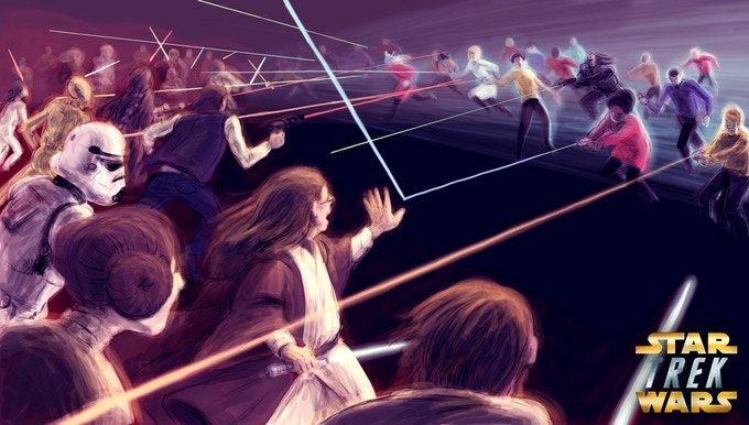 """""""Lightsabers vs. Phasers"""" Concept Art by: Katherine Lin"""