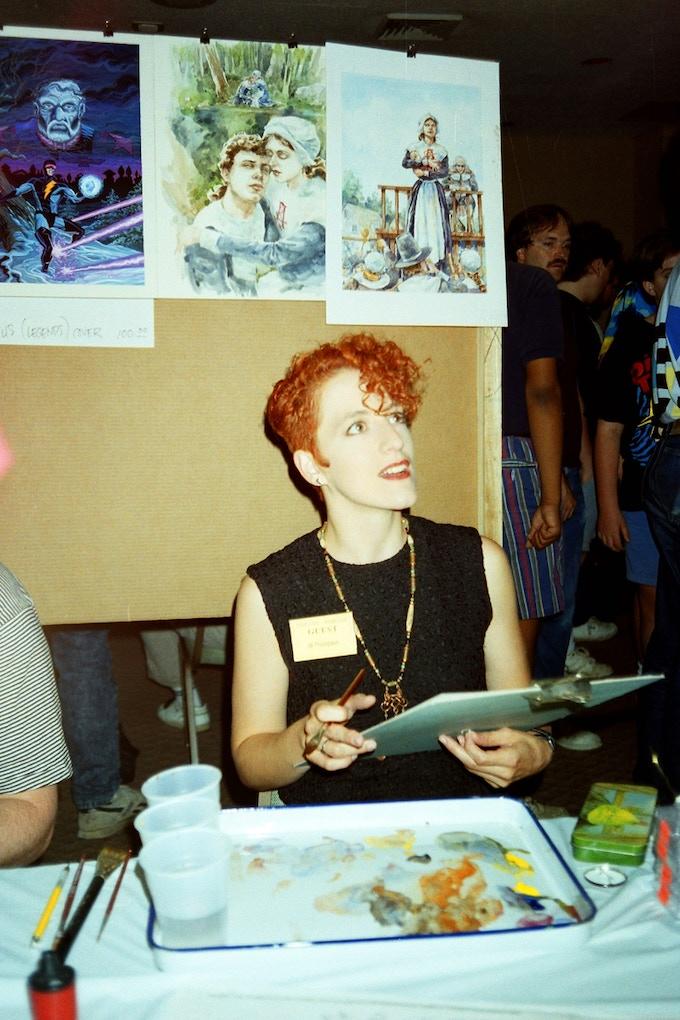 Jill Thompson at the 1990 San Diego Comic-Con.