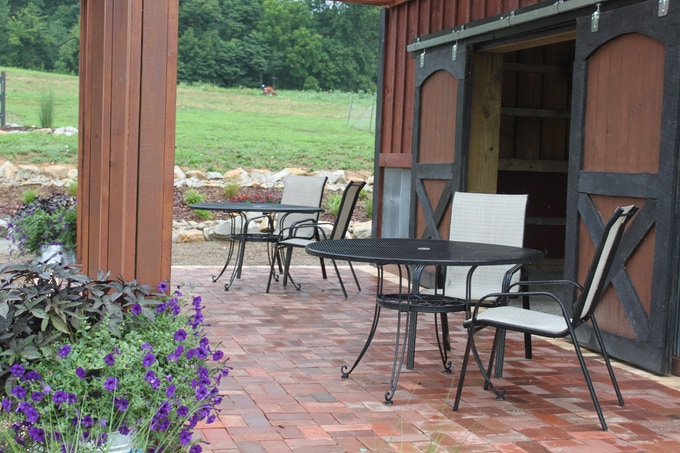 Our Barn Patio - Built for free from reclaimed brick