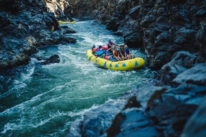 A raft navigating Mule Creek Canyon on the Rogue River