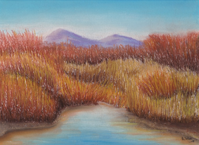 """Open Fields"" Pastel on WC Paper, 2015 A. Wier"
