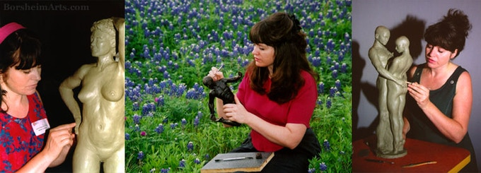 """Kelly Borsheim sculpts the figure: L-R: show demonstration; enjoying Texas bluebonnets at home in the spring; Studio work on """"Together and Alone"""""""