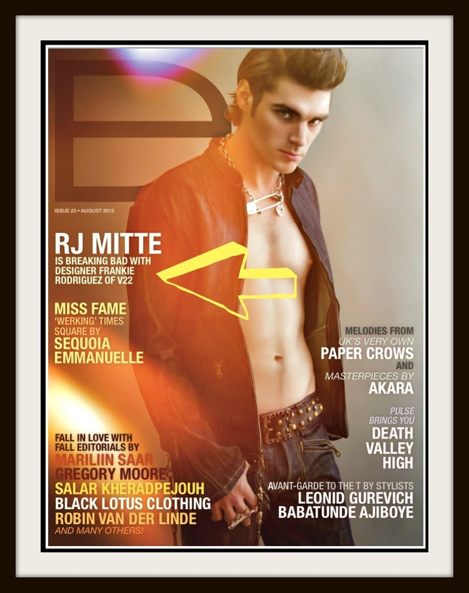 """RJ MITTE """"Breaking Bad Boy"""" for V22LA 6 PAGE EDITORIAL AND COVER"""
