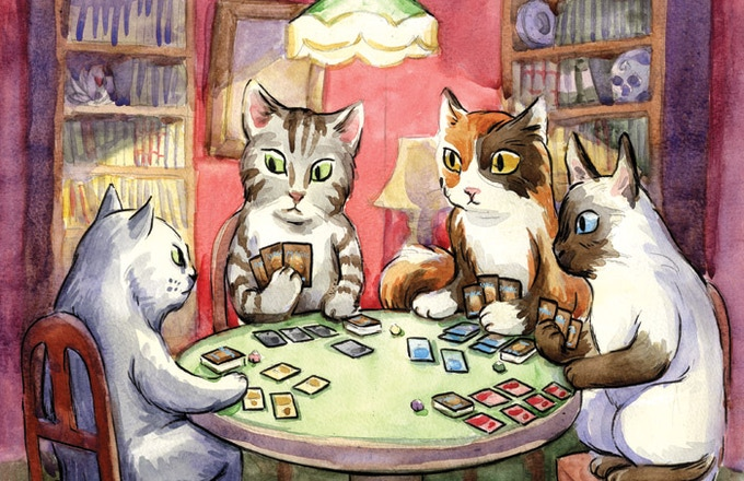 Dogs playing poker are over. It's time for cats playing Magic! Art by Hazel Newlevant