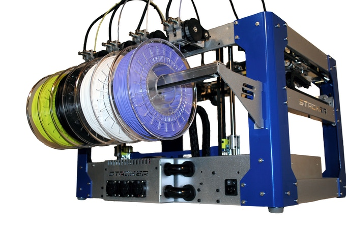 STACKER's Universal Filament Rail holds up to 8 rolls of filament!