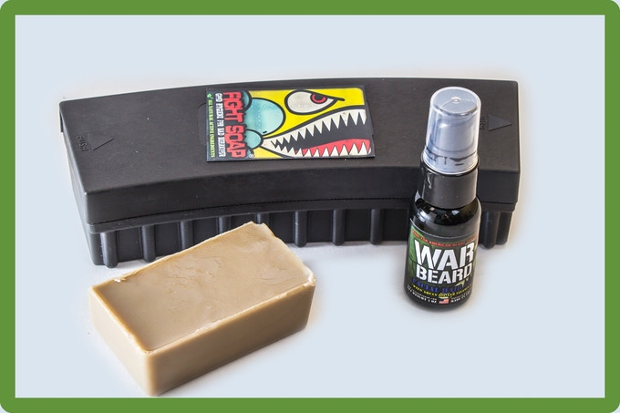 Fight Soap Ms.Clean Hygiene Kit with War Beard Oil.