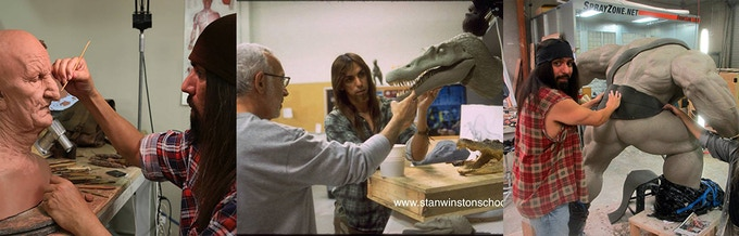 L to R: from Quest (TV); Jurassic Park 3 (w Stan Winston); and a model for a video game character
