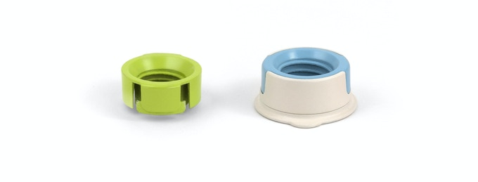 Zero Waste Cap comes with two adapters (green and blue) and a base (white).