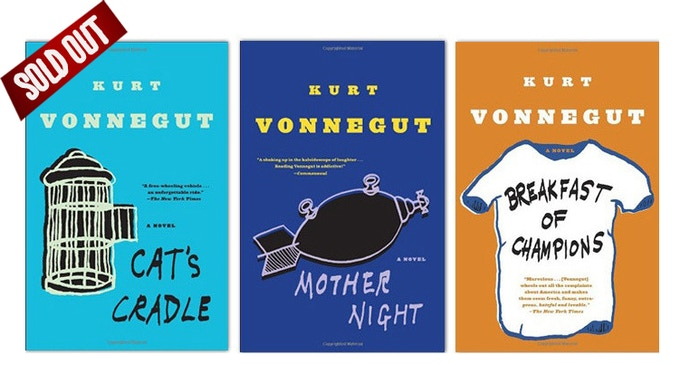 Brand new copies of three classic Kurt Vonnegut paperbacks: Cat's Cradle, Mother Night, and Breakfast of Champions. Either top off your Vonnegut collection, or give the repeats to a friend! (Courtesy of Random House)