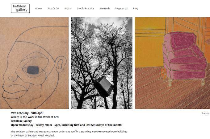 Bethlem Gallery website. Screenshot: February 2015