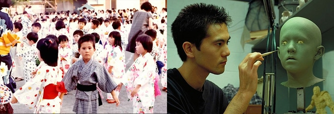 L: Hiroshi as a boy in Japan; R: as a young artist w Stan Winston Studio