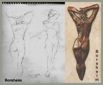 """Ten"" original sketch (left) and first bronze bas relief (right)"