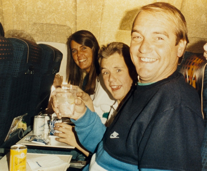 First ever Dench family trip abroad; flying to Magaluf, Majorca, 1986