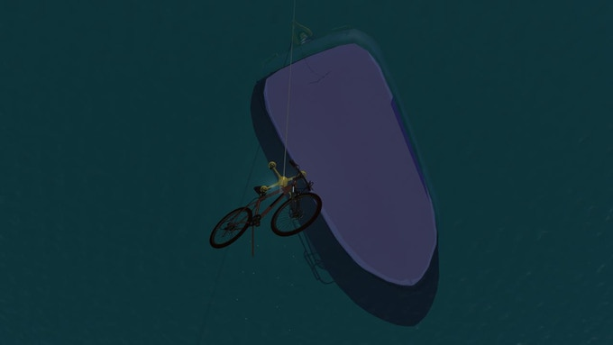 bike on its way to the surface