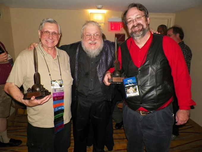 Ken Keller, George R.R. Martin and Bryan Thomas Schmidt at the Hugos
