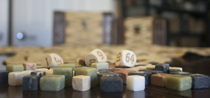 Natural Marble with beechwood dice and doubling cube