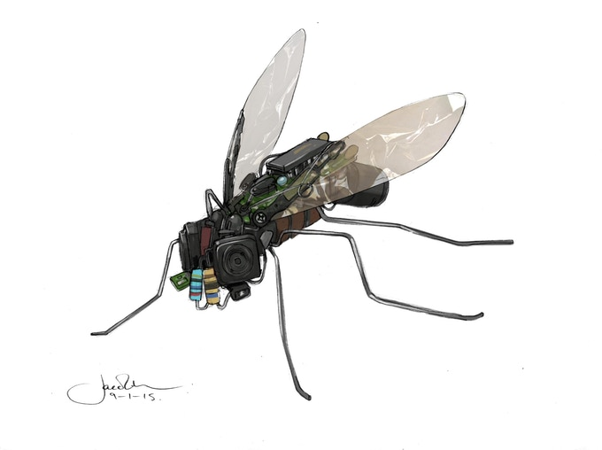 "Jake Lunt's concept art for the robot ""Flyspy"""