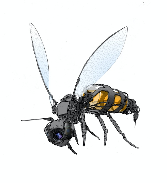 Jake Lunt's concept art for the robot drone wasp