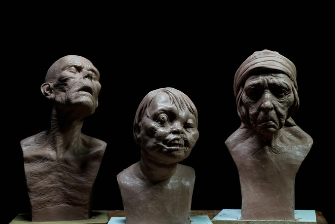 creepy old man, old woman, and creepy kid 1/3 size fine art busts - they are a creepy but happy family