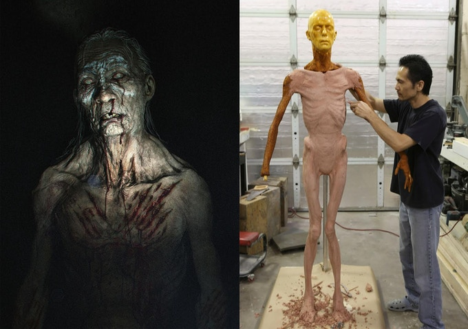"L: ""Creepy Guy on Floor reward"" - how perfect will he look in your living room? R - Hiroshi w Doug Jones-like head on ""Full Body Puppet reward"" - this could be yours, if you dare"