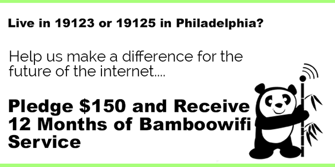 $150 for 1 Year of Bamboowifi in 19123 & 19125