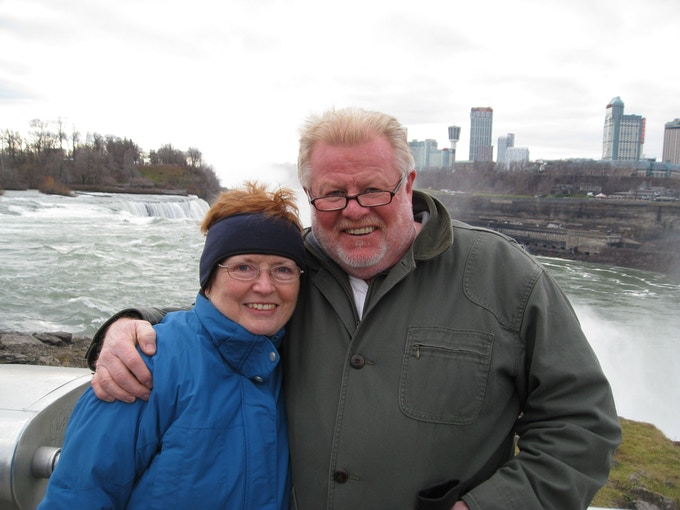 Terry and Emma in front of the Niagara Falls in 2012.