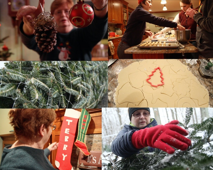 All screenshots from the film. Various McHugh Family Christmas traditions including cookies, wreath making, getting a tree from the farm and stockings.