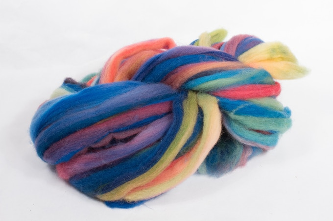 Carding and dying the fiber creates this roving