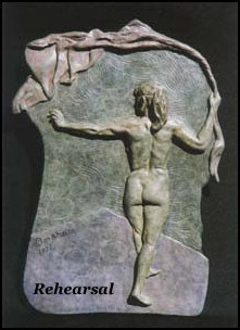 """Rehearsal:  12"""" h x 8.5"""" w x 1""""; standing female figure (dancer) in bas-relief"""