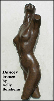 """Dancer:  Approx 16"""" H x 5"""" W x 3.5"""" D; female torso high relief (3-d on wall)"""