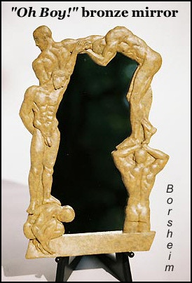 """""""Oh Boy!"""" bronze mirror:  14.5"""" h x 9.5"""" w x 1""""; five male figures in bas-relief"""