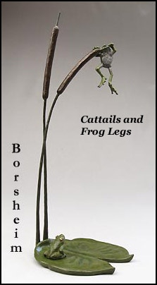 """Cattails and Frog Legs:  19"""" h x 7"""" w x 6"""" d; two frogs, lily pad and cattails"""